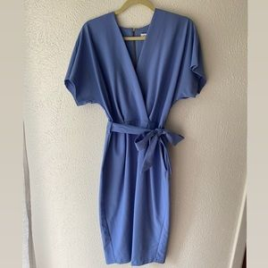 Powder Blue Wrap Cocktail Dress